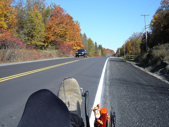 recumbent bike rider's view of the road ahead